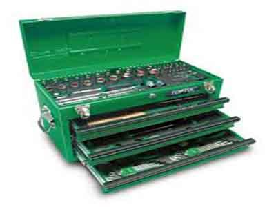 جعبه ابزار 99 پارچه آهنی سبز تاپ تول TOPTUL