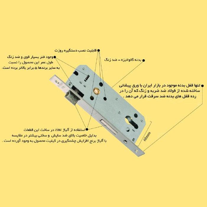 قفل بدنه درب سرویس 65 میلیمتر تنسر مدل TL-2030-65w