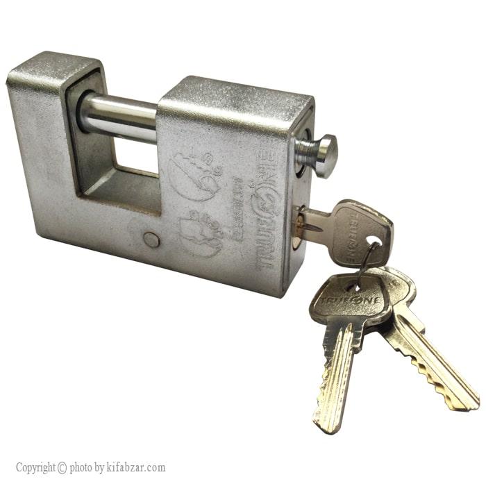 قفل کتابی روکش دار ترووان کلید دوشیار سایز 100 میلی متر